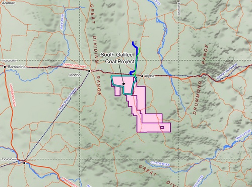 Location of the South Galilee Coal Project